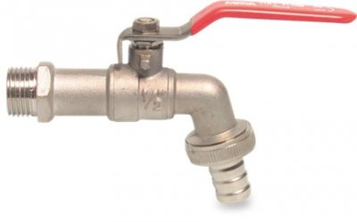 "Brass Bibtap 1/2"" BSP Outlet For 12mm Hose 3/4"" BSP Thread"